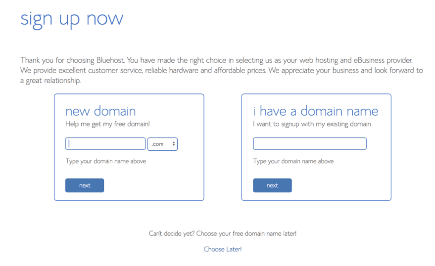 Sign up for a Domain Name